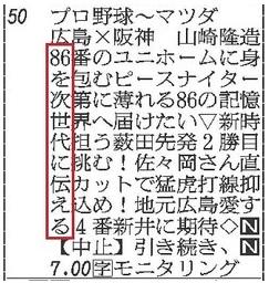 カープ縦読み2015