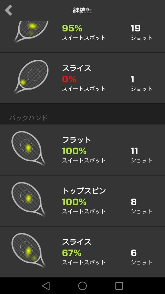 ZEPPテニススイングセンサーのアプリ画面1