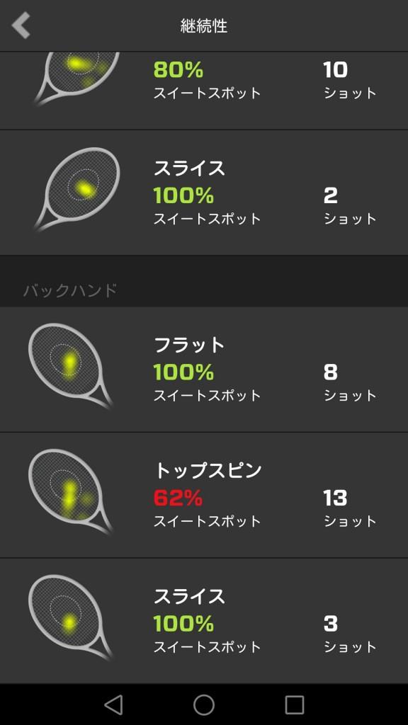 ZEPPテニススイングセンサーのアプリ画面2