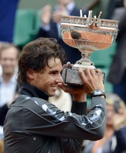Spain's Rafael Nadal celebrates with the