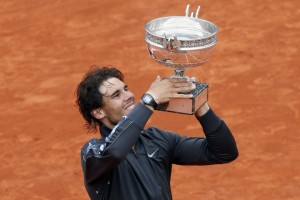 Spain's Rafael Nadal celebrates with his