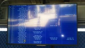 選手の練習スケジュールは液晶パネルに掲示されています。